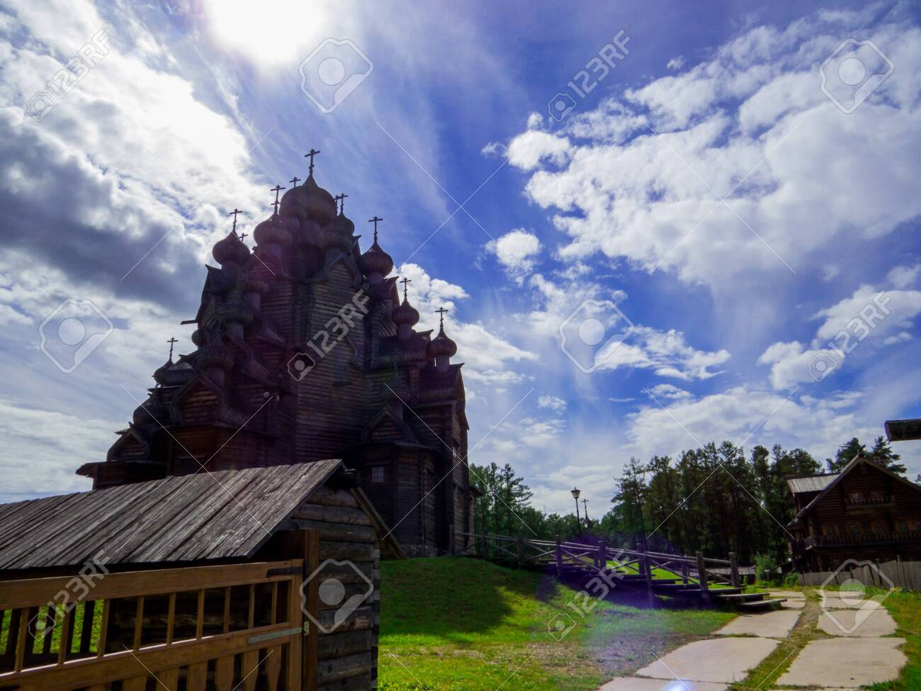 View of the wooden Church of the Intercession of the Holy Virgin in St. Petersburg, Russia - 151391708
