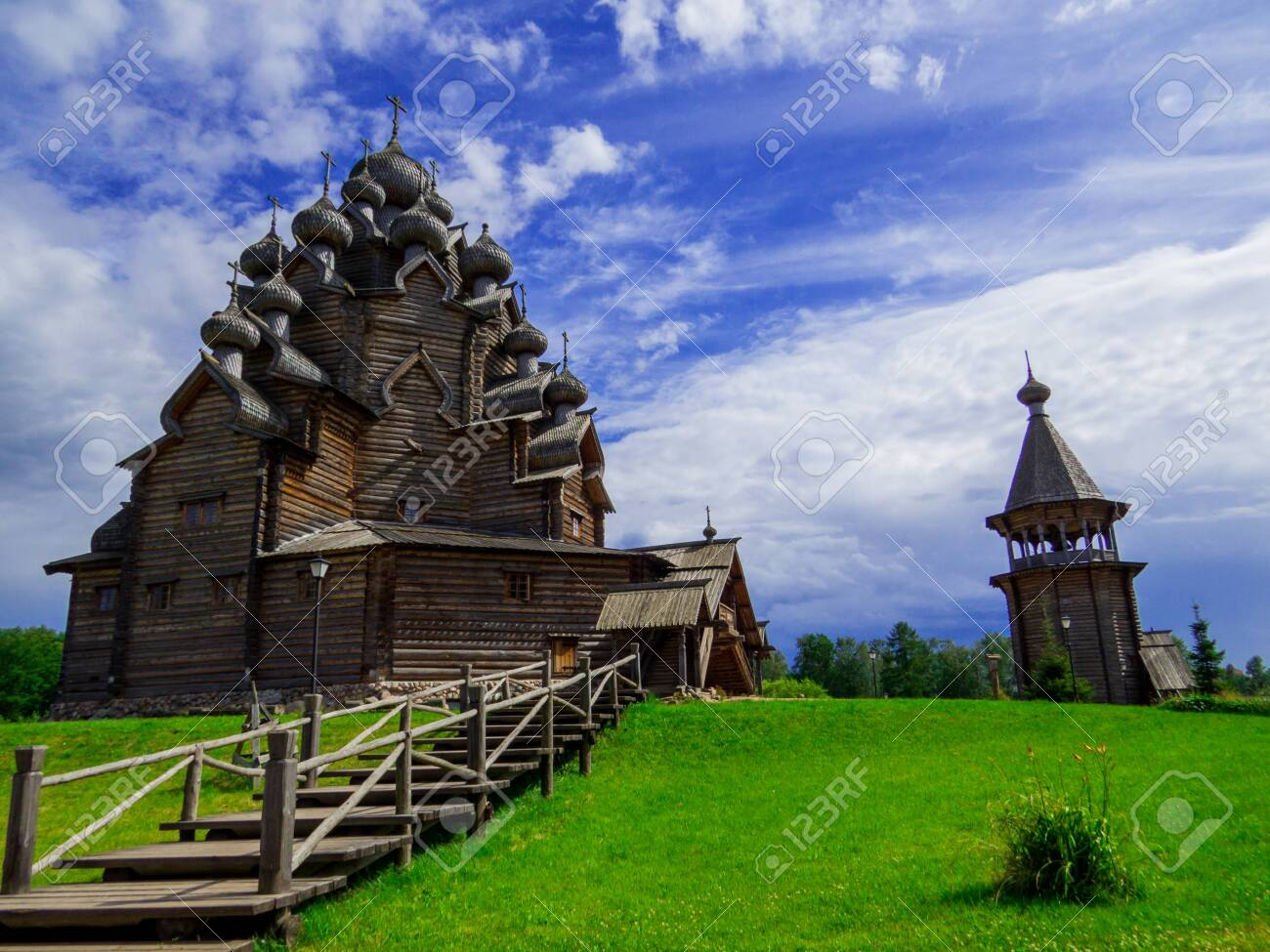 View of the wooden Church of the Intercession of the Holy Virgin in St. Petersburg, Russia - 151391742