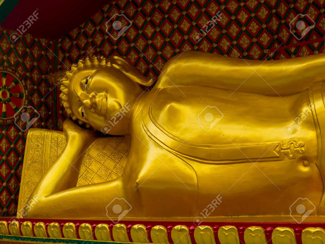 Bangkok, Thailand - January 16, 2020: View of the reclining Buddha in the Wat Sitaram. - 151449104