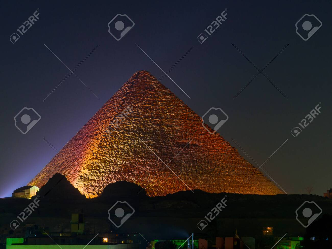 Cairo, Egypt - November 31, 2019: View of the Great Pyramid of Giza illuminated at night. - 151449162