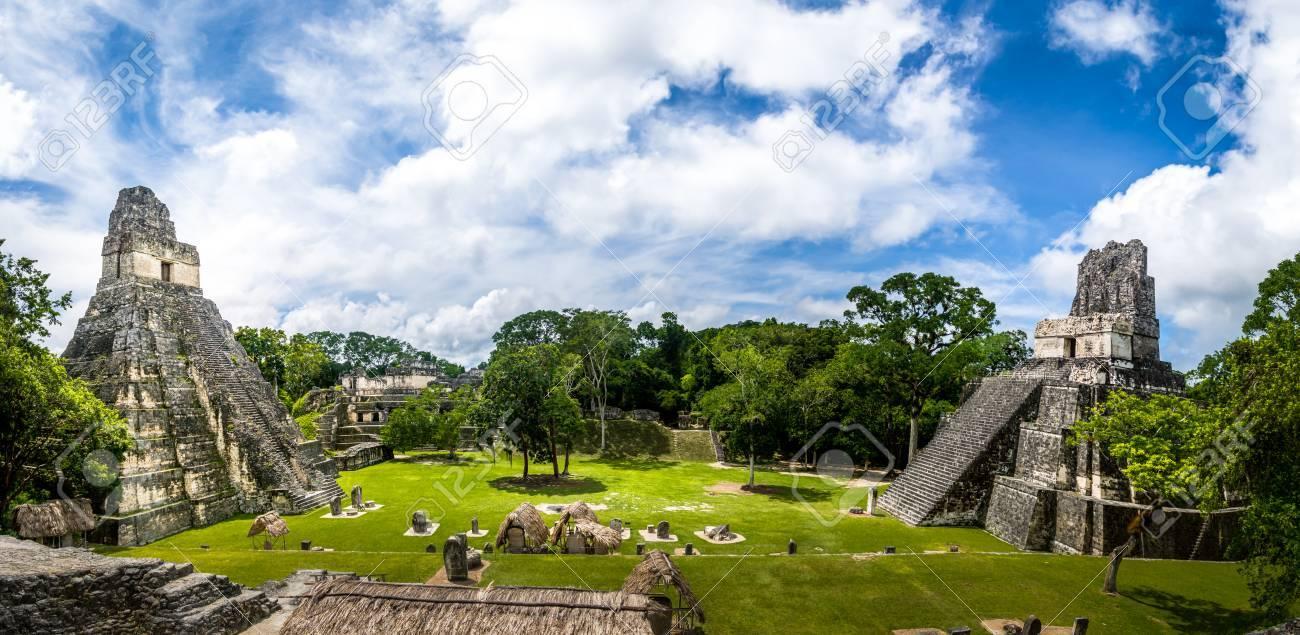 Mayan Temples of Gran Plaza or Plaza Mayor at Tikal National Park - Guatemala - 73678403