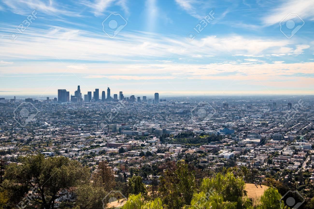 downtown los angeles skyline view los angeles california stock