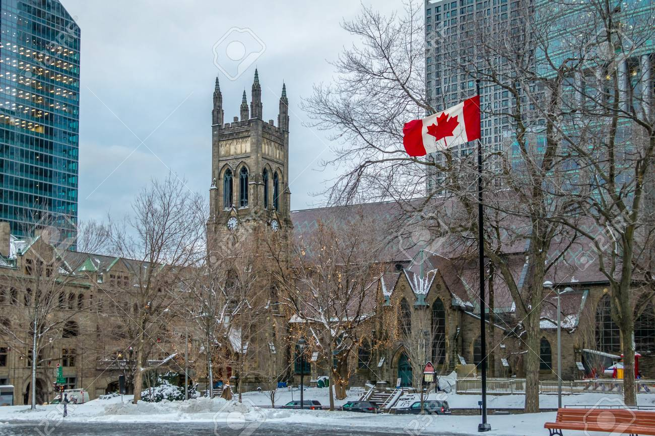 St. George's Anglican Church In Canada Square With Flag - Montreal on us and canada, calgary canada, new foundland canada, hudson canada, dorval canada, provinces of canada, forest canada, saguenay canada, nw territories canada, map of canada, prince edward island canada, mont tremblant canada, alberta canada, ontario canada, vancouver canada, montreal canada, rocky mountains canada, toronto canada, british columbia canada, new brunswick canada,