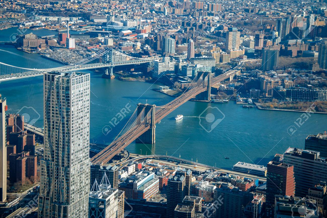 Aerial View Of Brooklyn Bridge And Manhattan Bridge New York