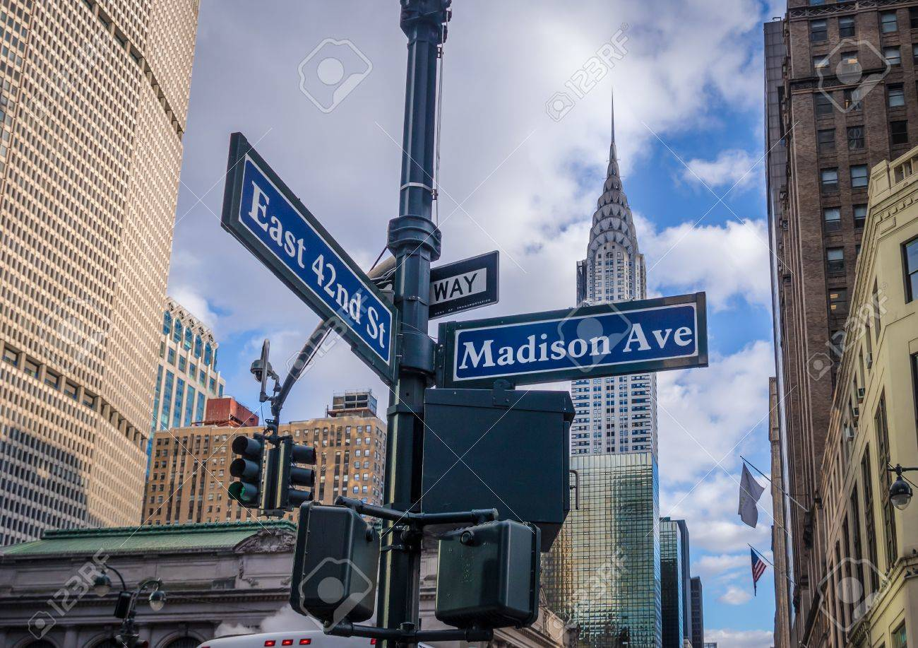 Street Sign Of Madison Avenue And East 42nd St New York Usa Stock