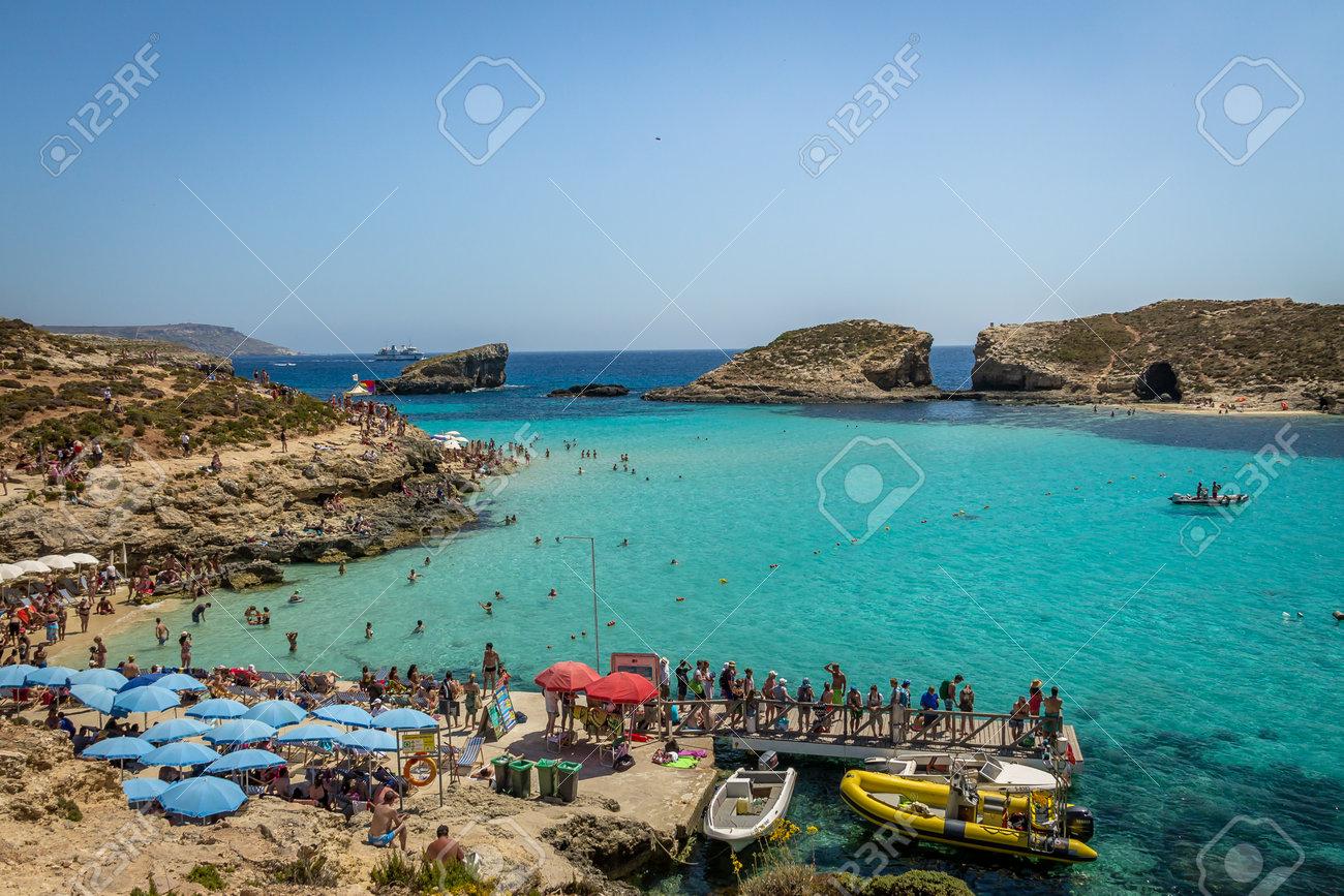 People At The Blue Lagoon In Comino Island Gozo Malta