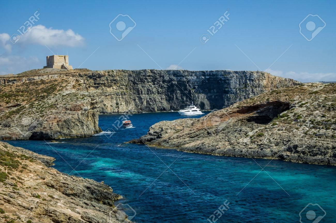 Watchtower Near The Blue Lagoon In Comino Island Gozo Malta