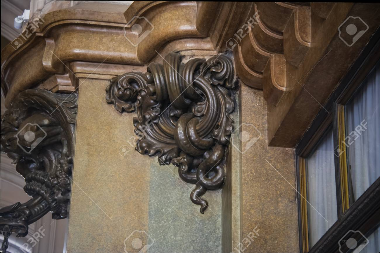f0d7563d32e2 Detail of Bronze Serpent the Entrance Hall inspired in Hell of Barolo  Palace (Barolo Palace