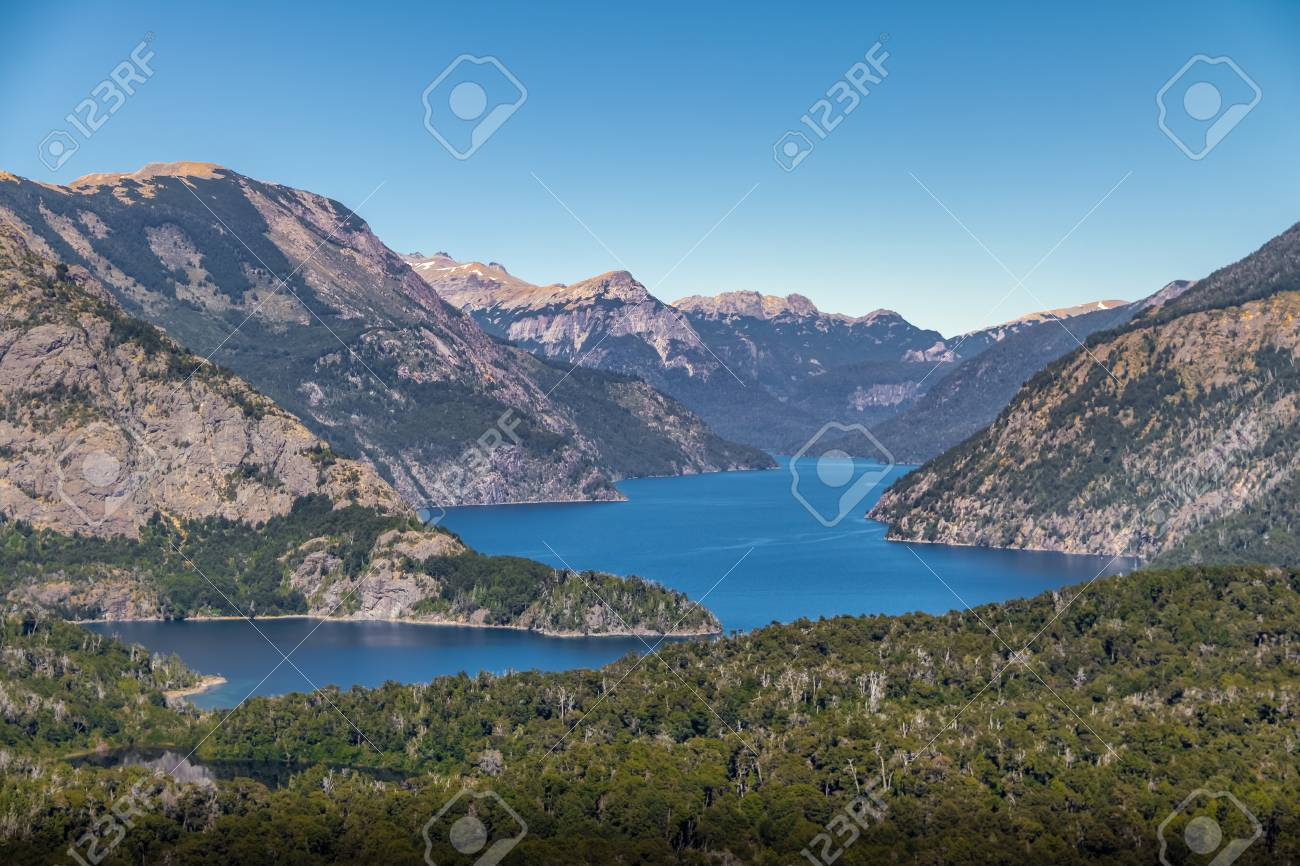 Circuito Chico Bariloche : Aerial view from cerro llao llao viewpoint at circuito chico.. stock