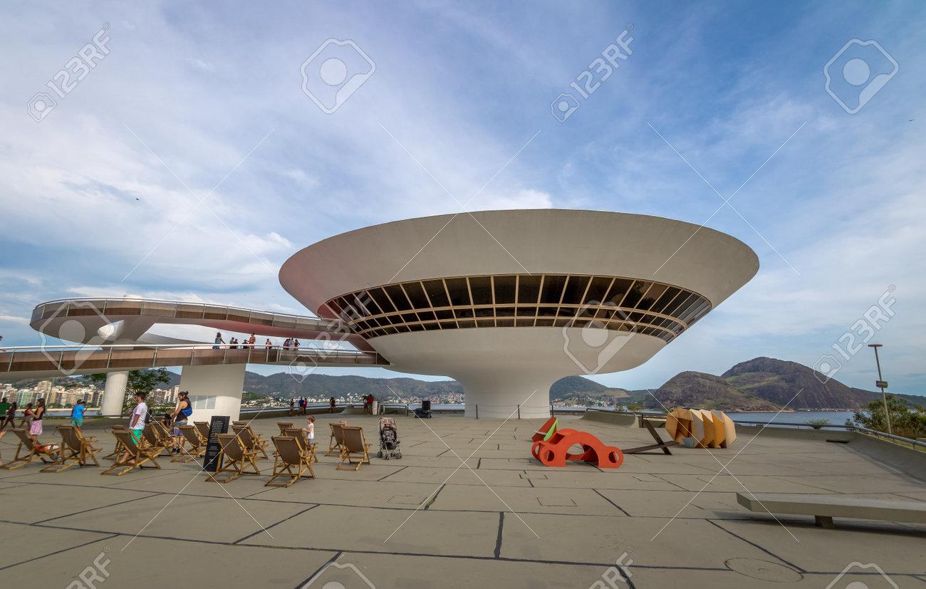 69c81a6e8 Niteroi Contemporary Art Museum (MAC) - Niteroi, Rio de Janeiro, Brazil  Stock