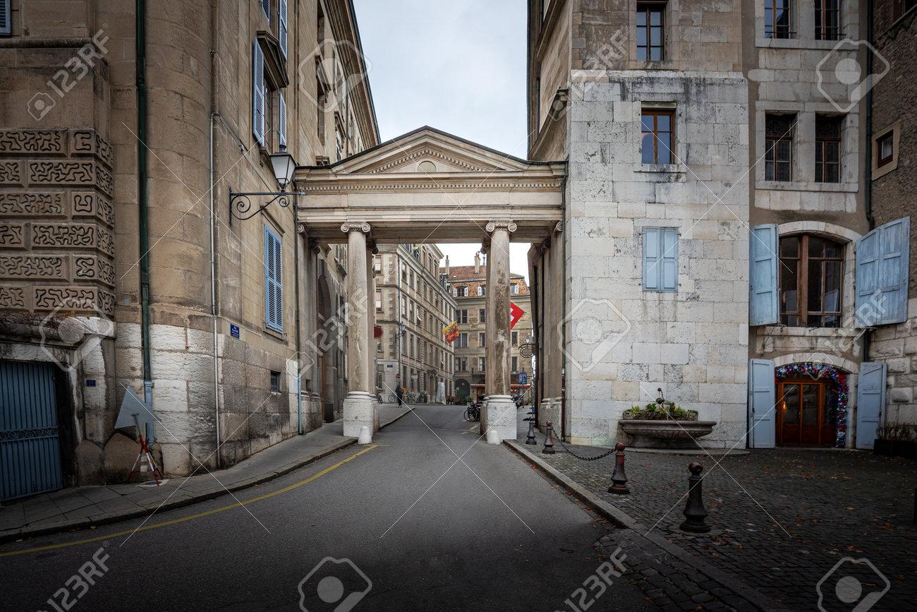 Arch between Promenade de la Treille and Geneva Old Town Streets - Geneva, Switzerland - 164115396