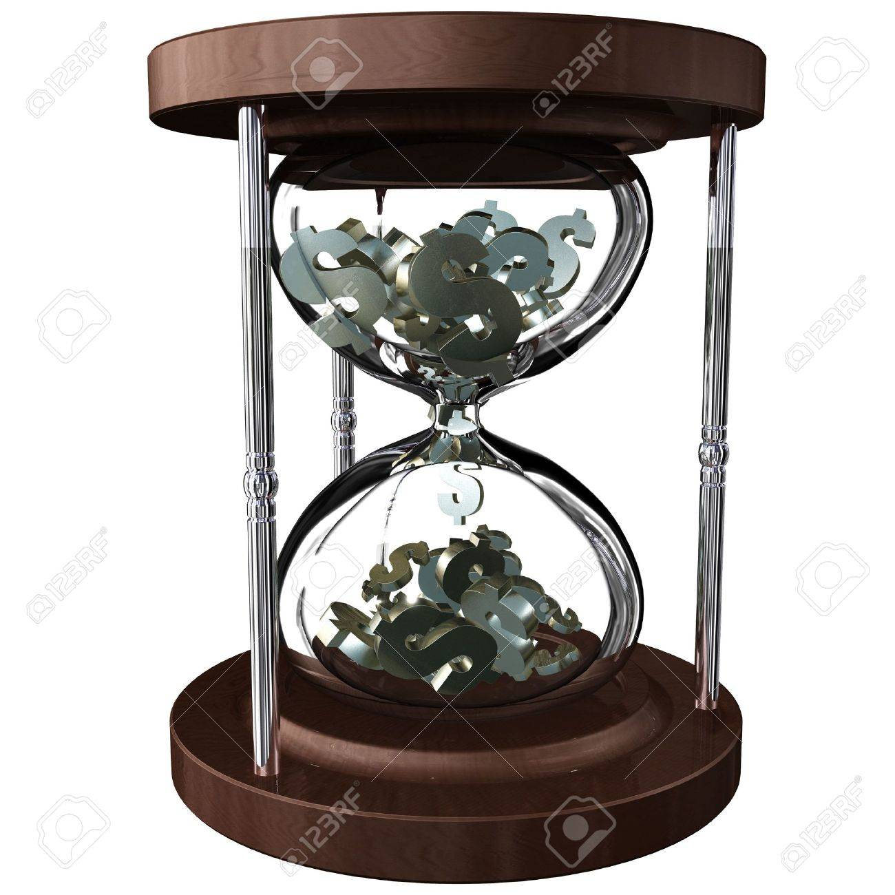 An hourglass with falling dollar symbols instead of sand. Time is money Stock Photo - 4932333