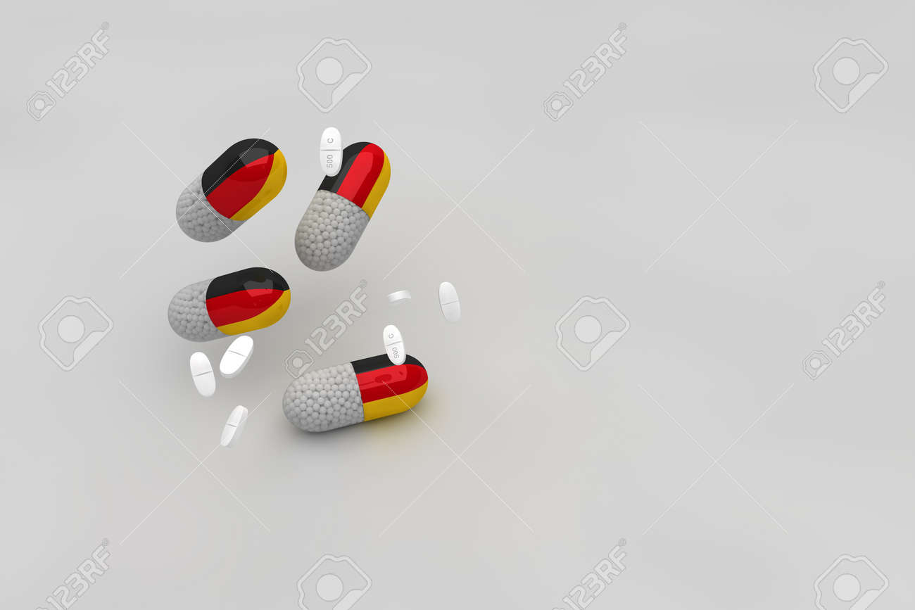 Medicinal capsules against Covid-19 with the flag of Germany and white medicinal pills against the epidemic and pandemic that attack Germany. 3d animation - 152769951