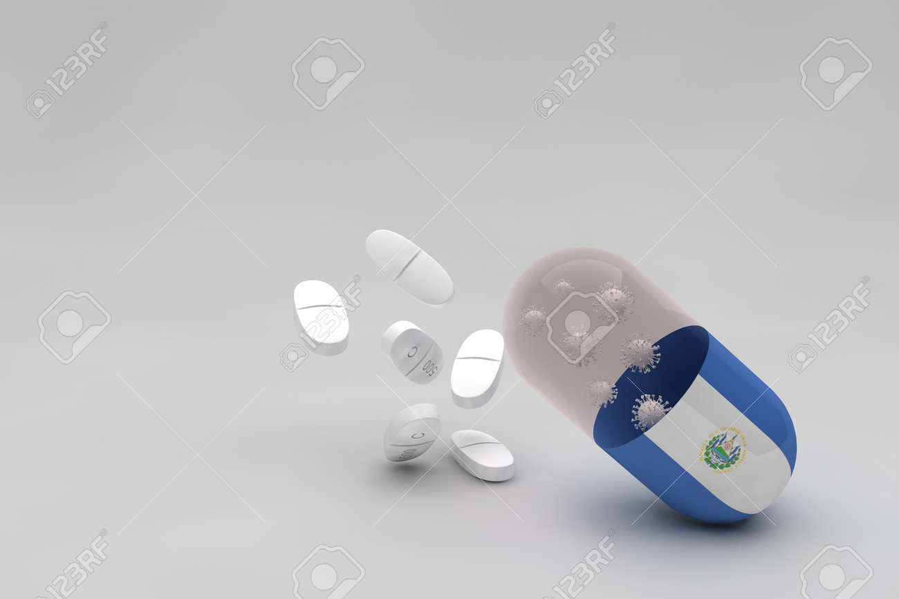 pill with the flag of El Salvador and Anti-epidemiological virus background, particles of Covid-19 virus and 500 mg white medicine capsules. 3d animation - 159670995