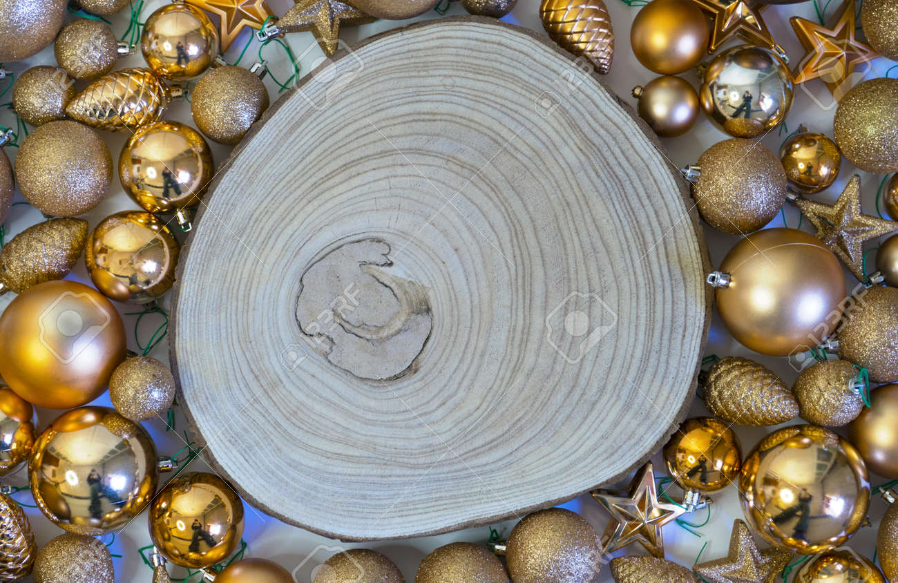 Christmas background and holiday decorations with wooden log - 157609572