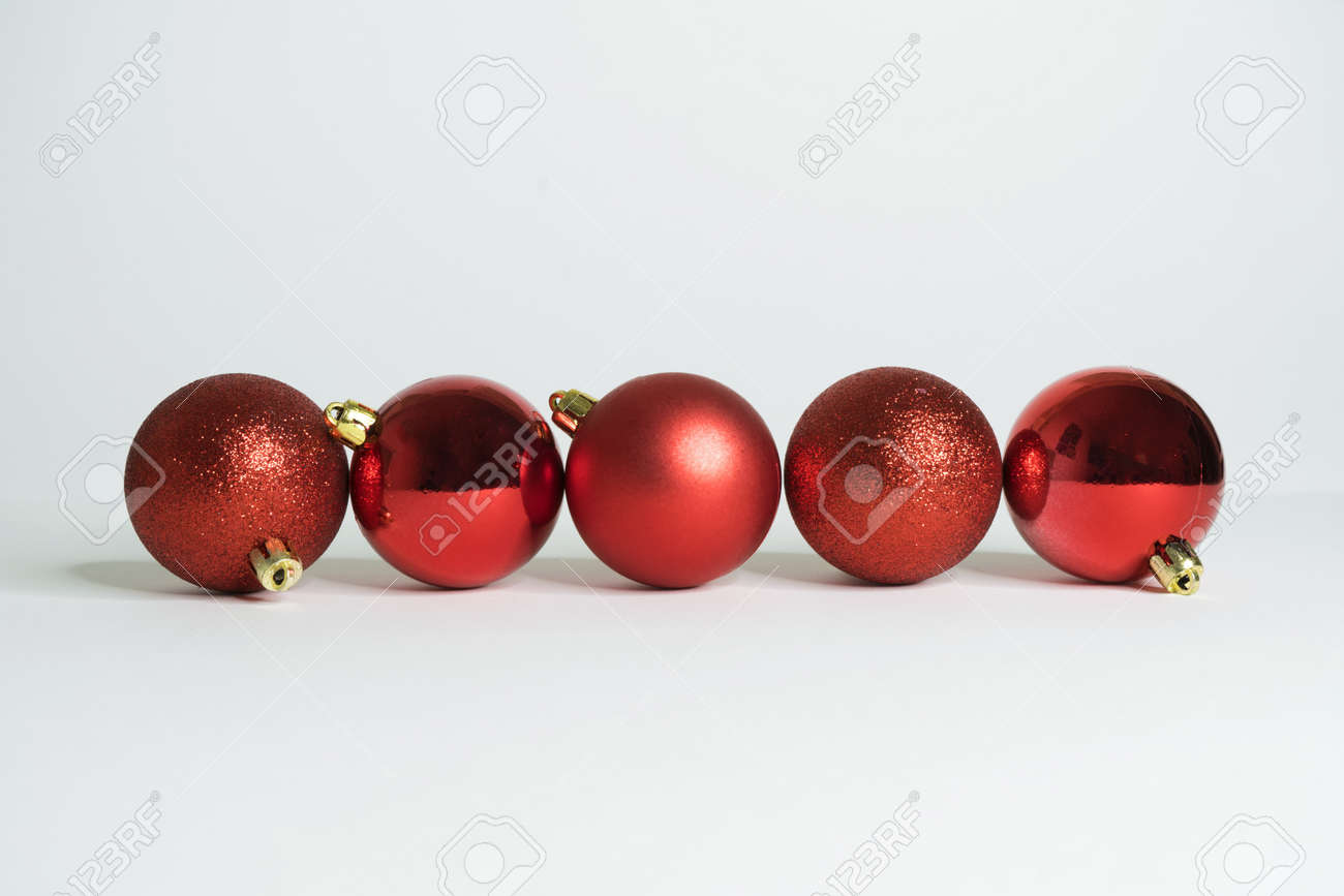 Red christmas balls with white background - 157694547