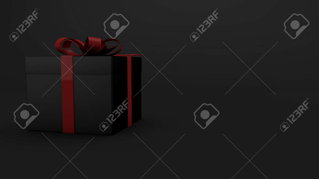 Black Friday gift with red ribbon on black - 158130264