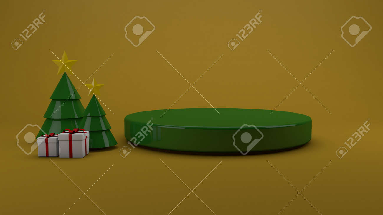 Christmas Podium studio and Gold background. 3D render - 159734734