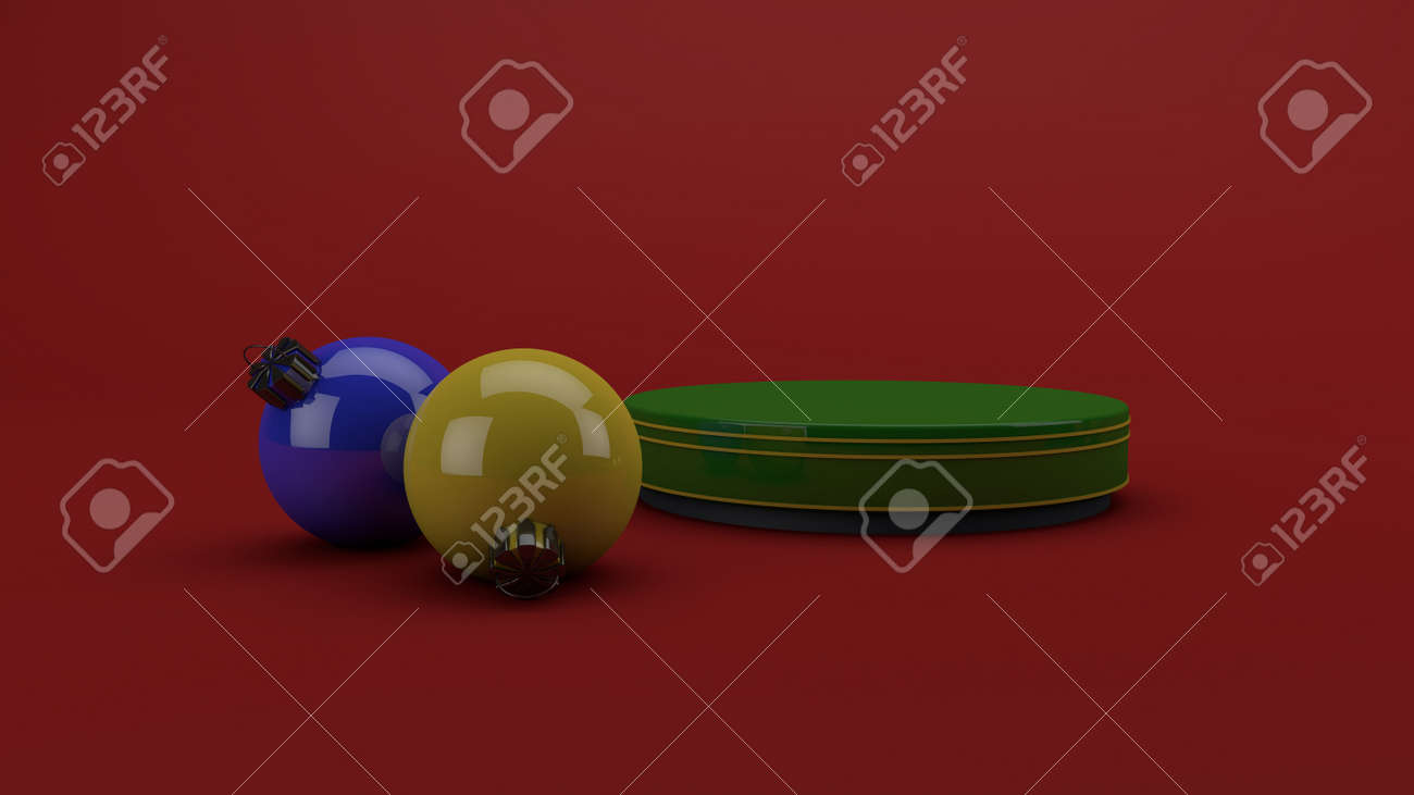 Christmas green podium with red background, studio mockup. 3D Render - 159734736
