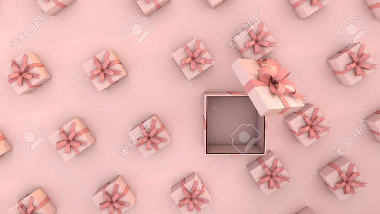 pink gifts an ideal background to celebrate a baby shower or birthday. 3D Render - 160524084
