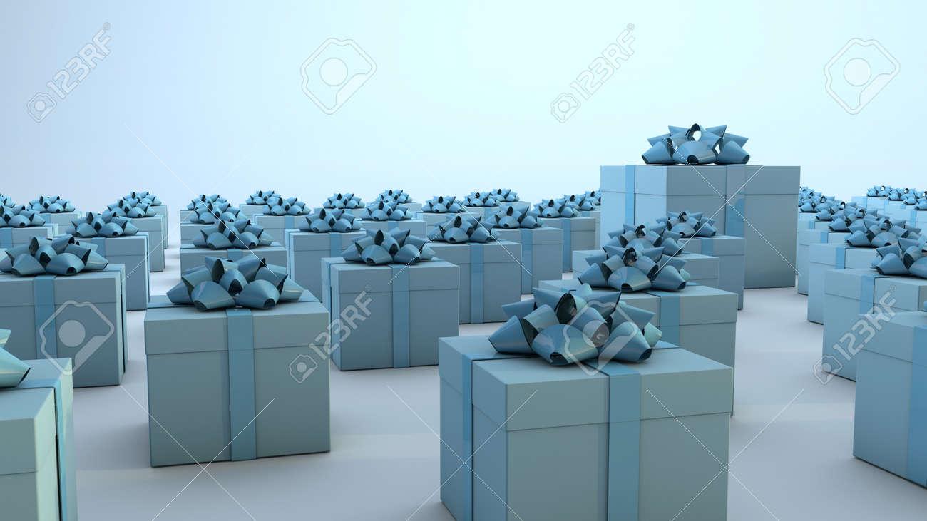 Multiple blue gift boxes. 3D Render - 163518765