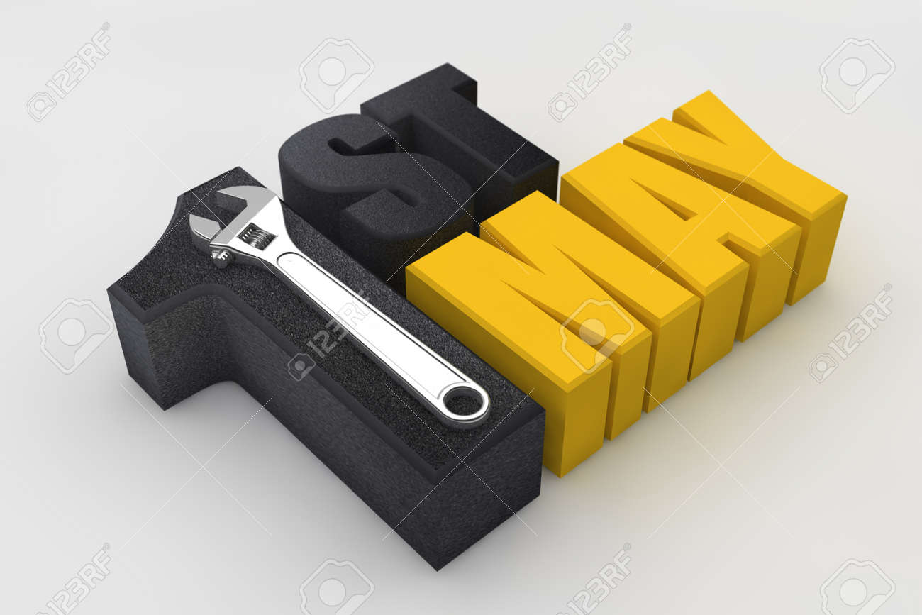 1st may, happy labor day with wrench handtool. 3D Render - 167010182