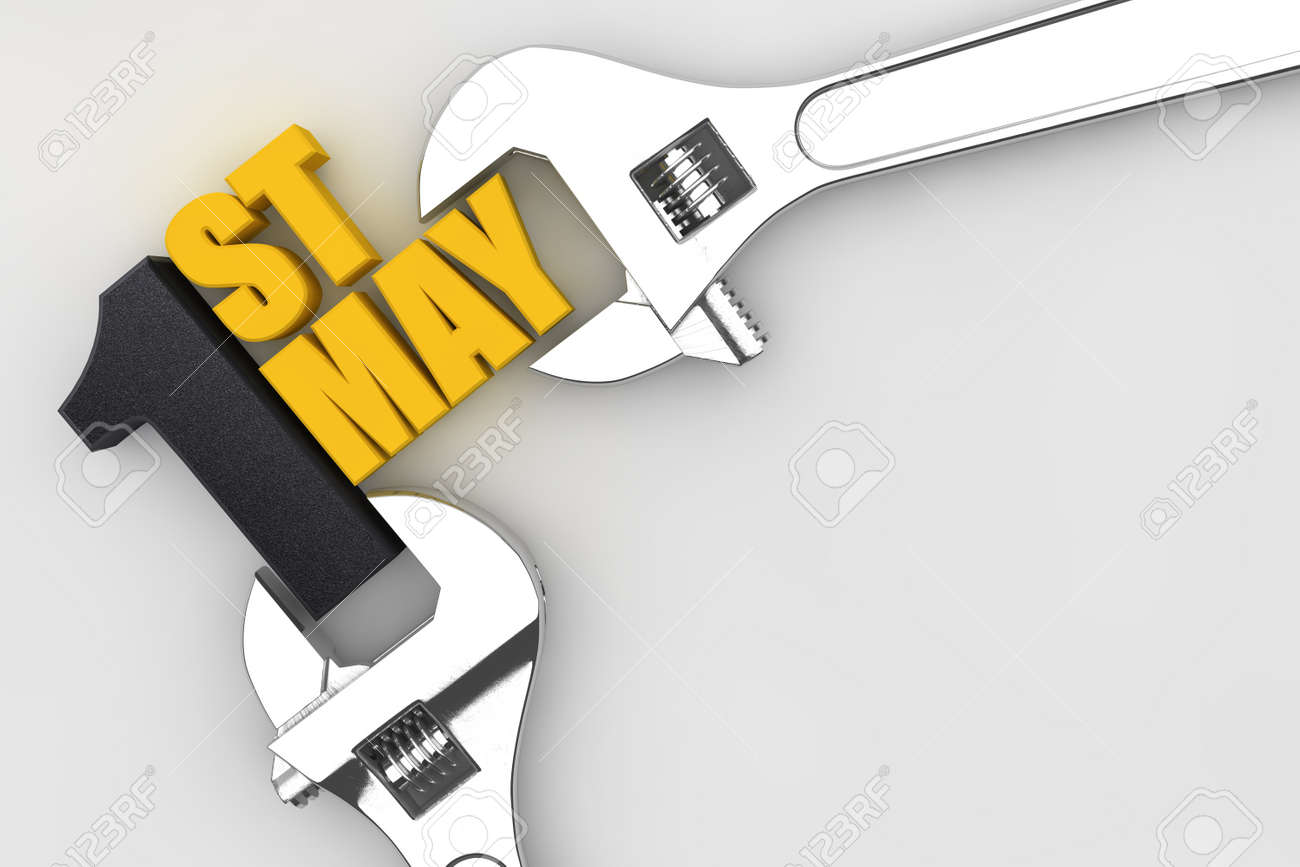 1 May labor day international worker's day. wrench 3D render - 167010187