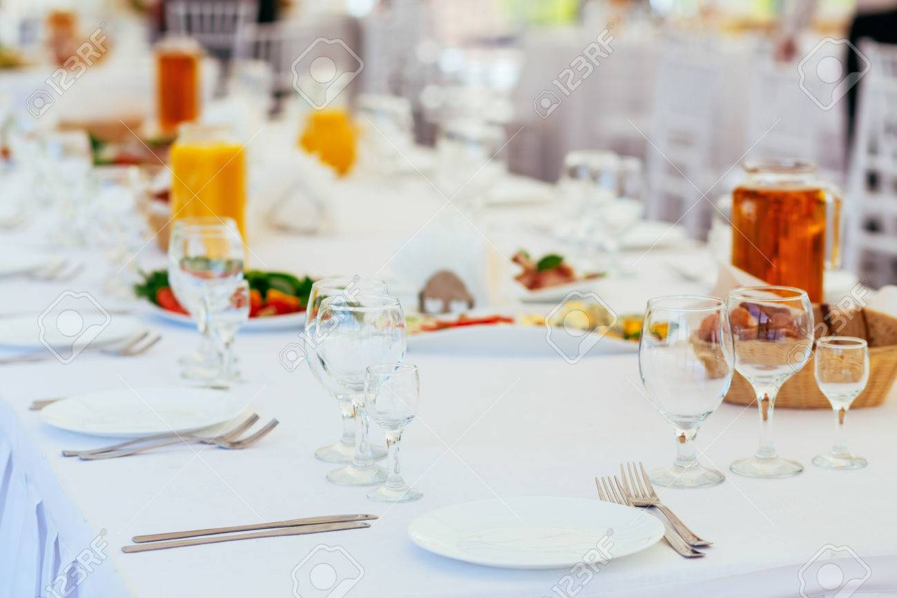 Standing buffet table setting on a celebratory event Stock Photo - 60650508 & Standing Buffet Table Setting On A Celebratory Event Stock Photo ...