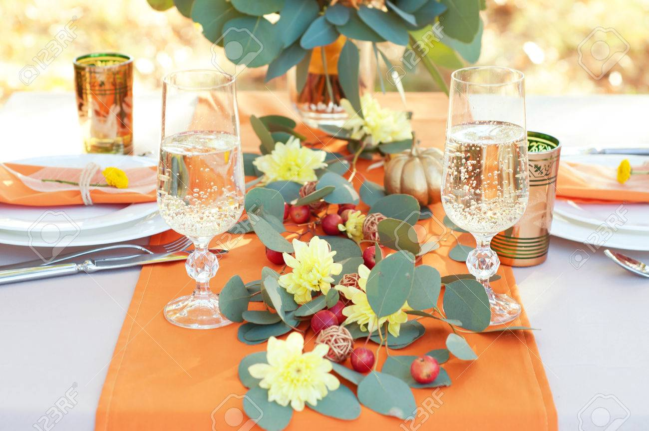 How to set a romantic dinner table for two - Exquisitely Decorated Table For Two Autumn Themed Table Setting Romantic Dinner Stock Photo