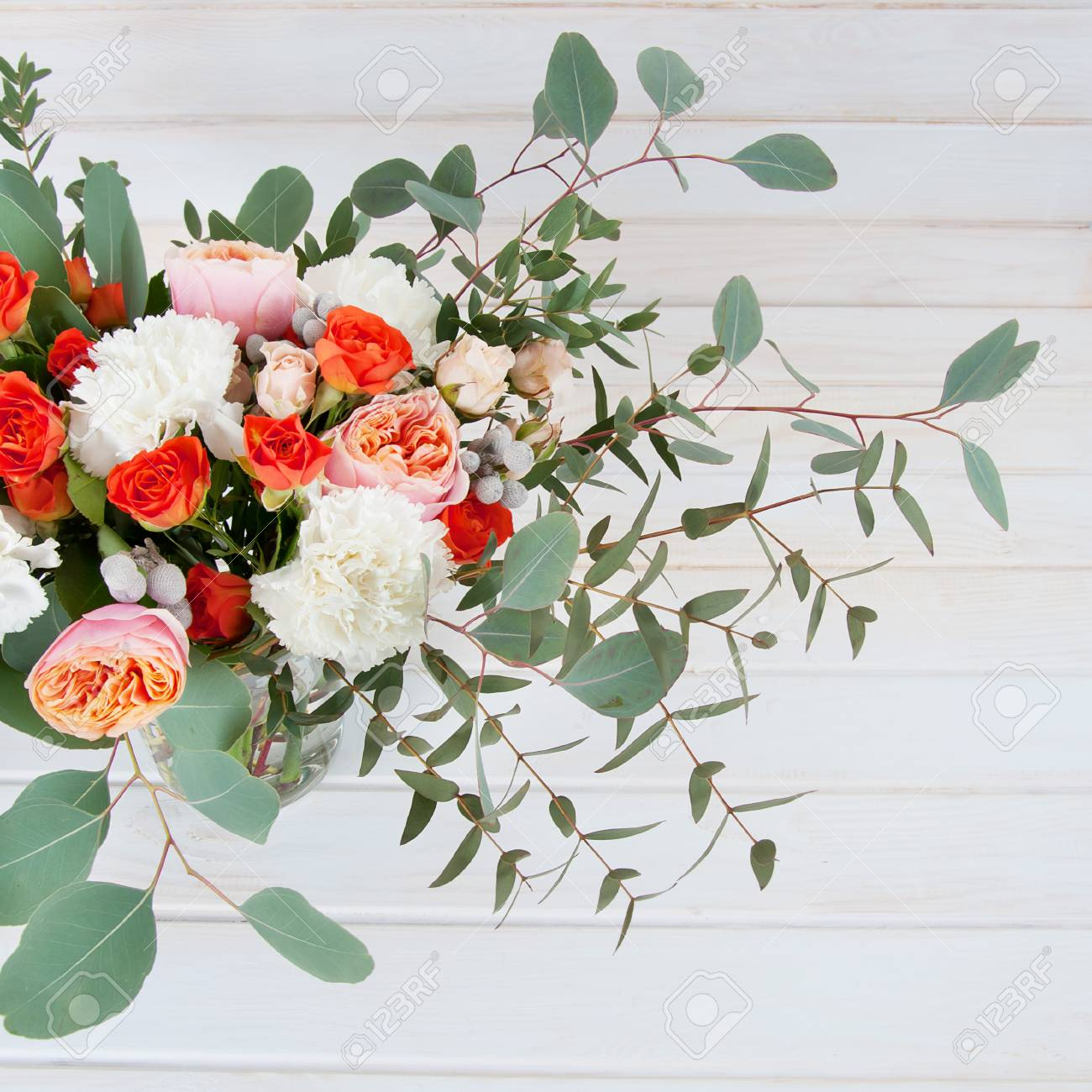 Beautiful Bridal Bouquet Made Of White And Orange Flowers Ribbon