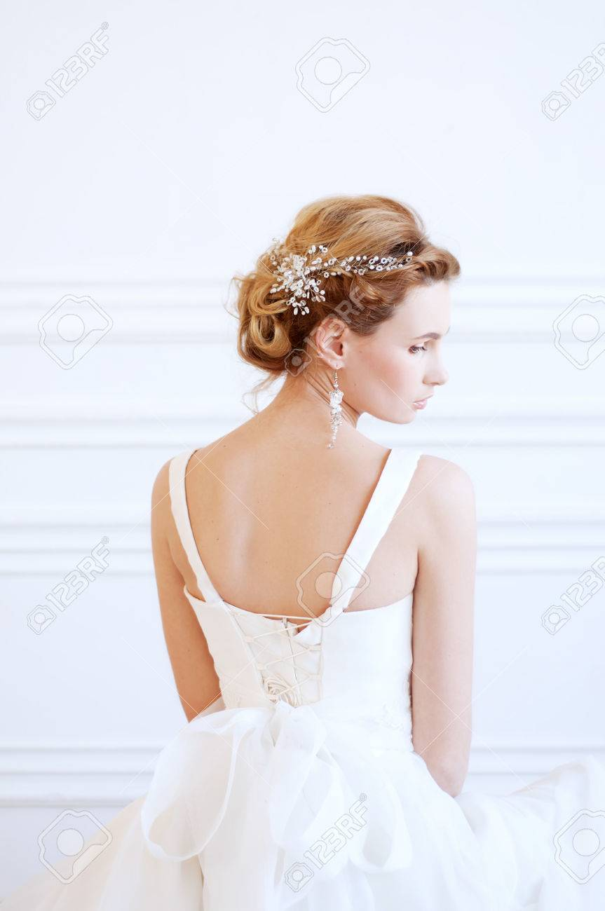 Bridal Hairstyle And Makeup Young Woman With Long Blond Hair