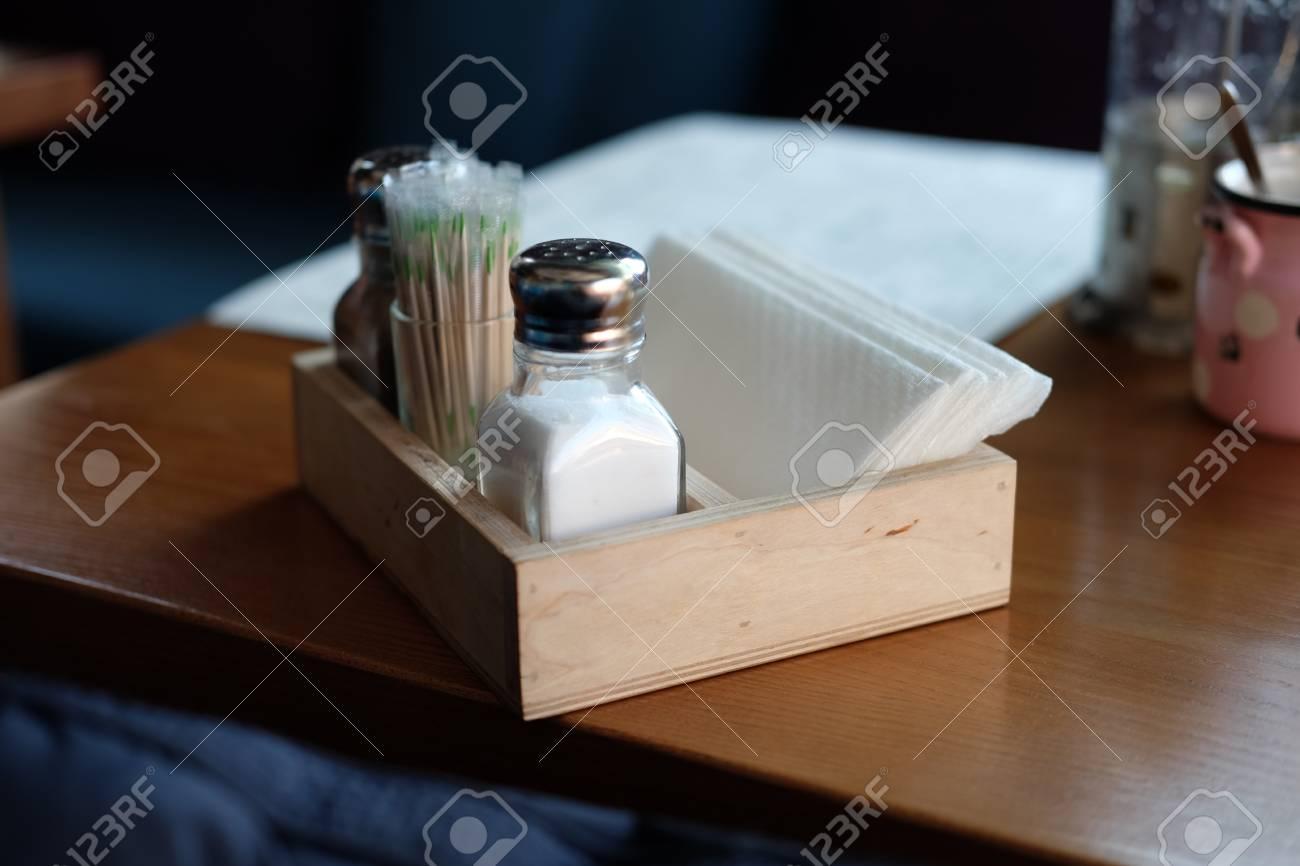 Part Of Restaurant Table Setting Salt, Pepper, Toothpicks And ...
