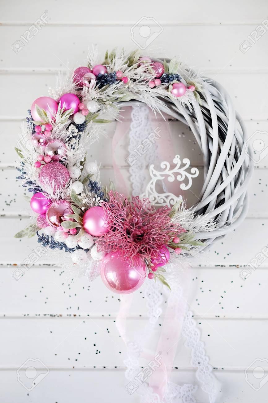 Noel Couronne Hiver Decoration De Porte De Vacances En Blanc Et Rose