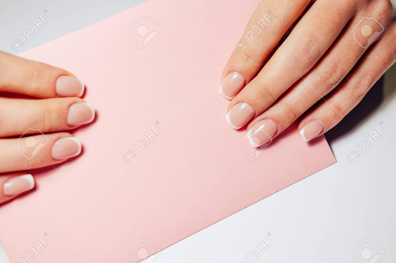 French Nail Extensions. Women With Beautiful Manicure And Wedding ...