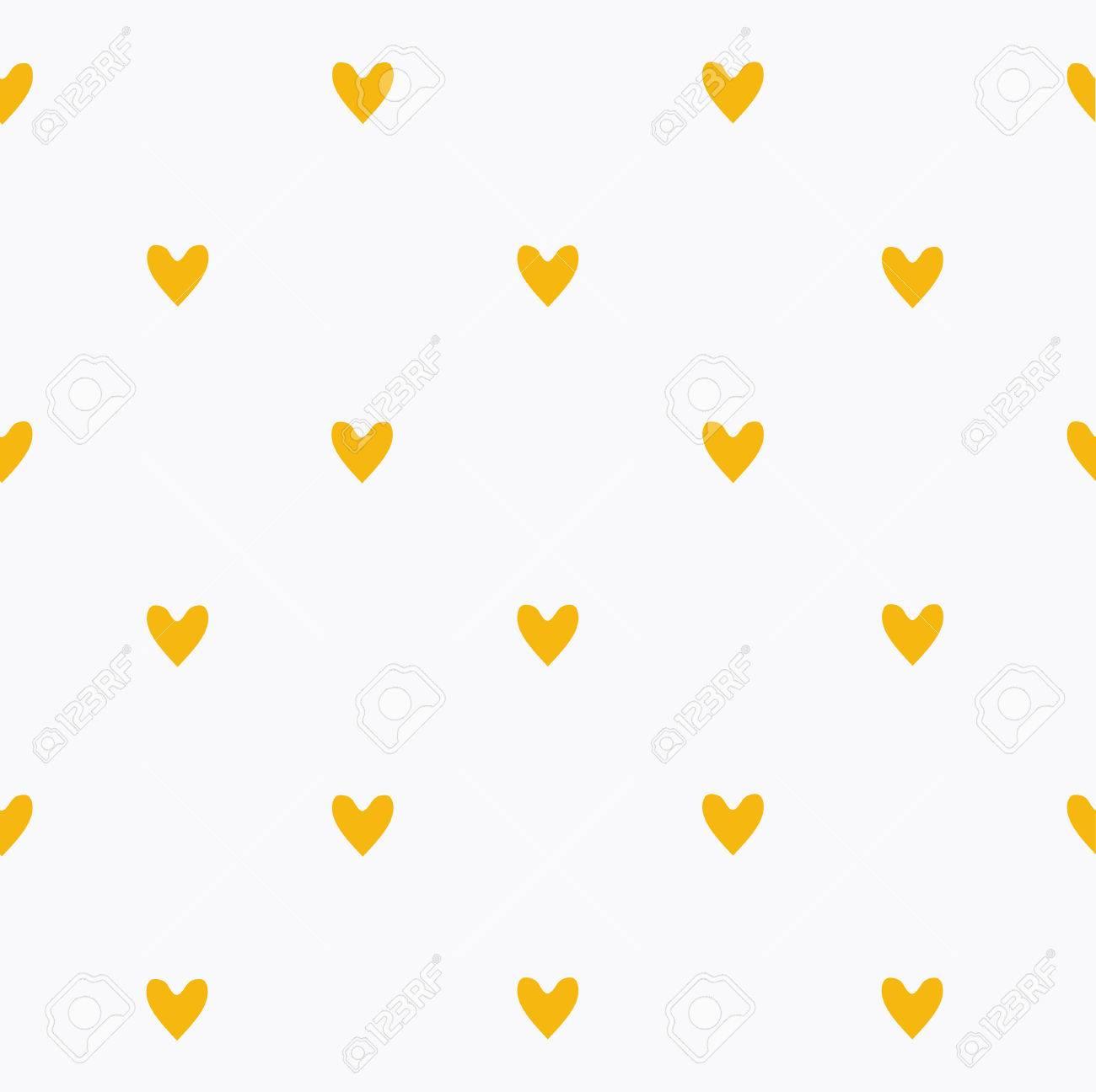 Sin Patrón Lindo Corazones Amarillos. Ilustraciones Vectoriales ...