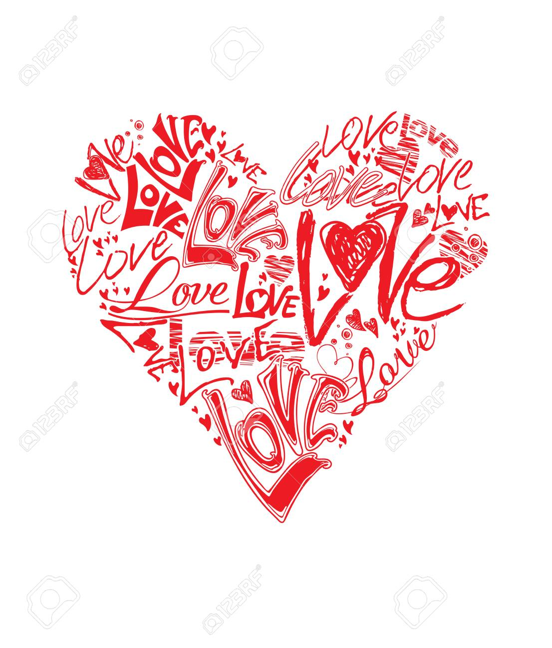 heart shape hand made up the word love red flat vector template