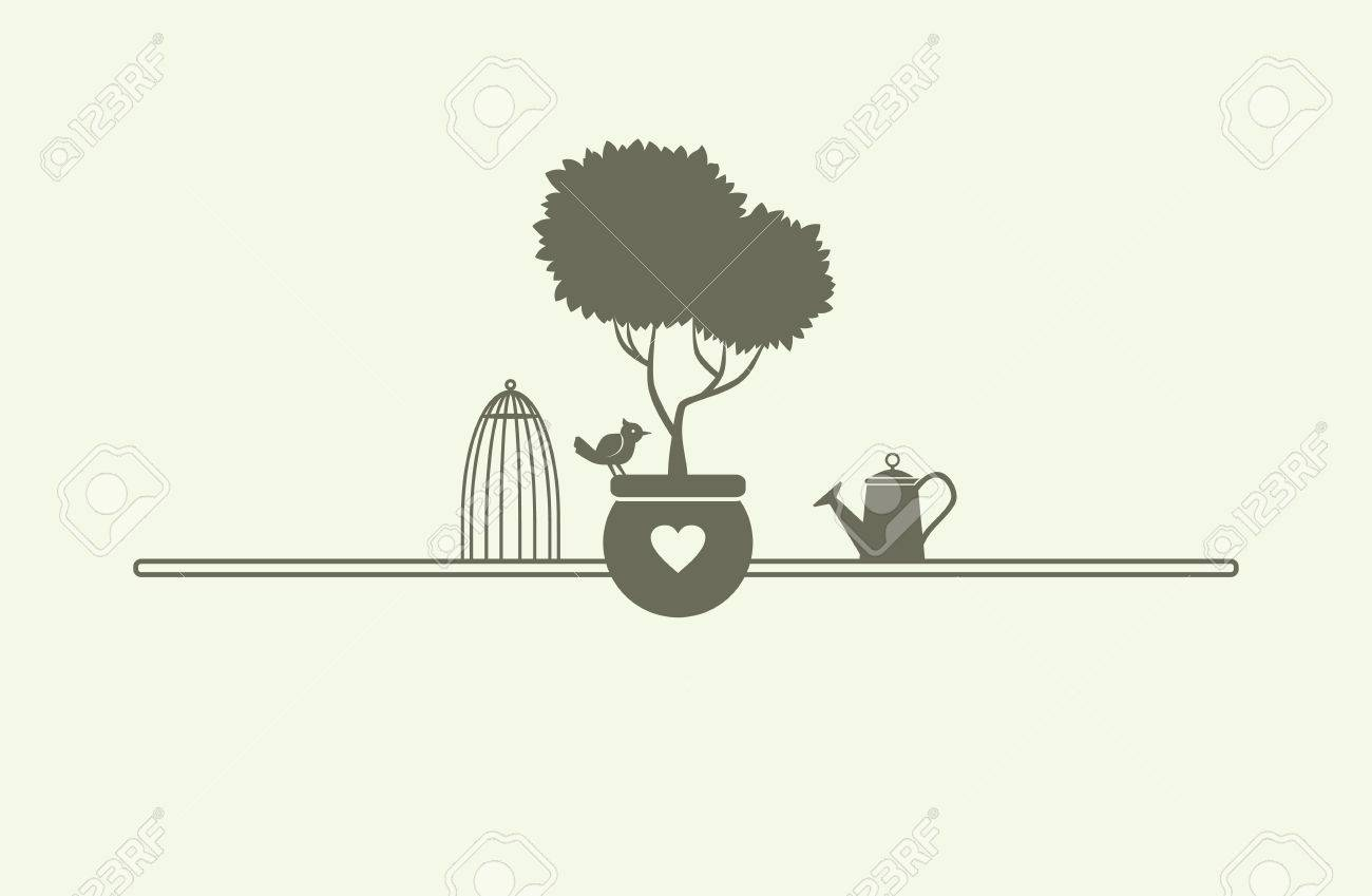 houseplant watering can cage and songbird vector flat template