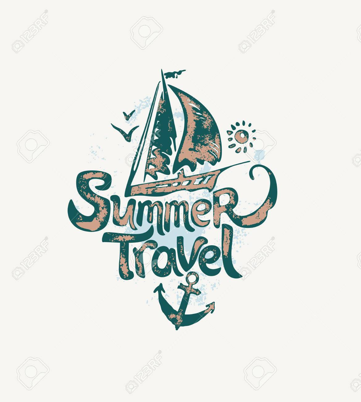 Summer Travel Hand Drawn Logo With Sailing Yacht Vector Template