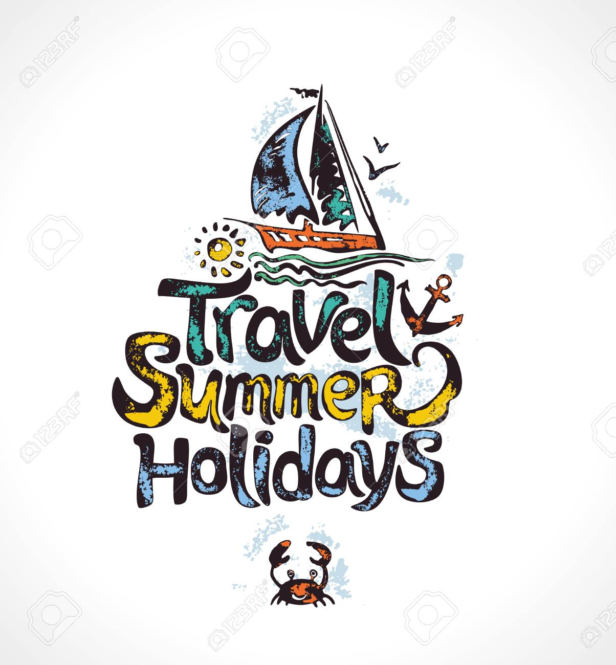 Travel Summer Holidays Hand Drawn Logo With Sailing Yacht Vector