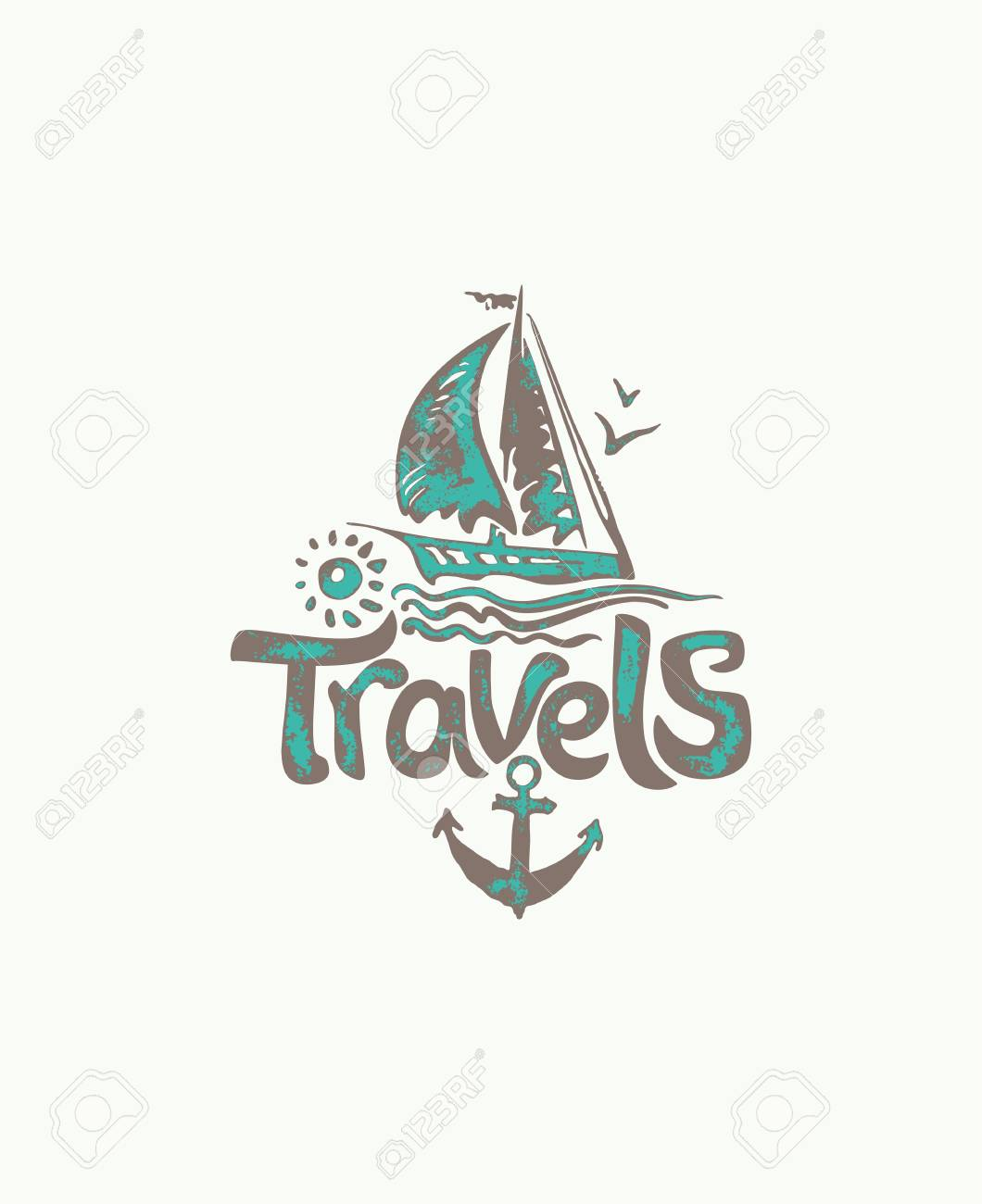 Travels Hand Drawn Logo With Sailing Yacht Vector Template