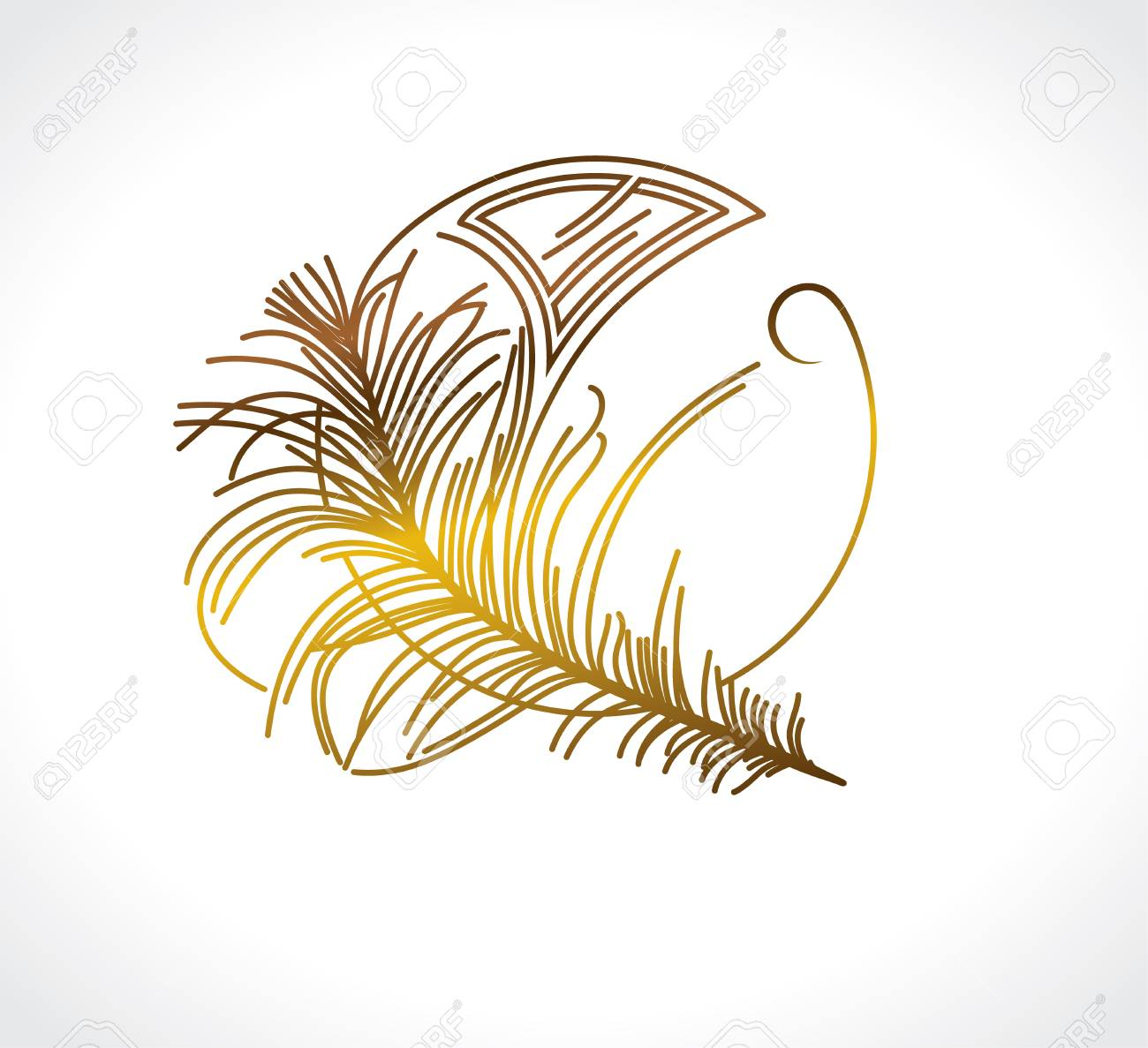 Feather Vintage Design. Art Deco Stylized Template. Royalty Free ...