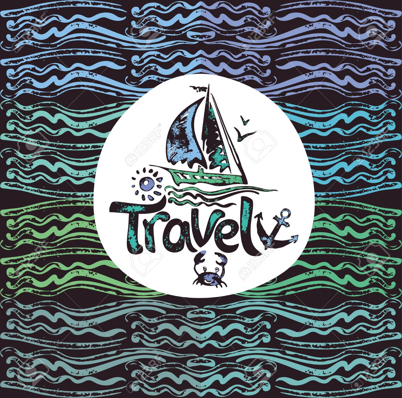 Hand Drawn Travel Poster With Sailing Yacht Vector Template