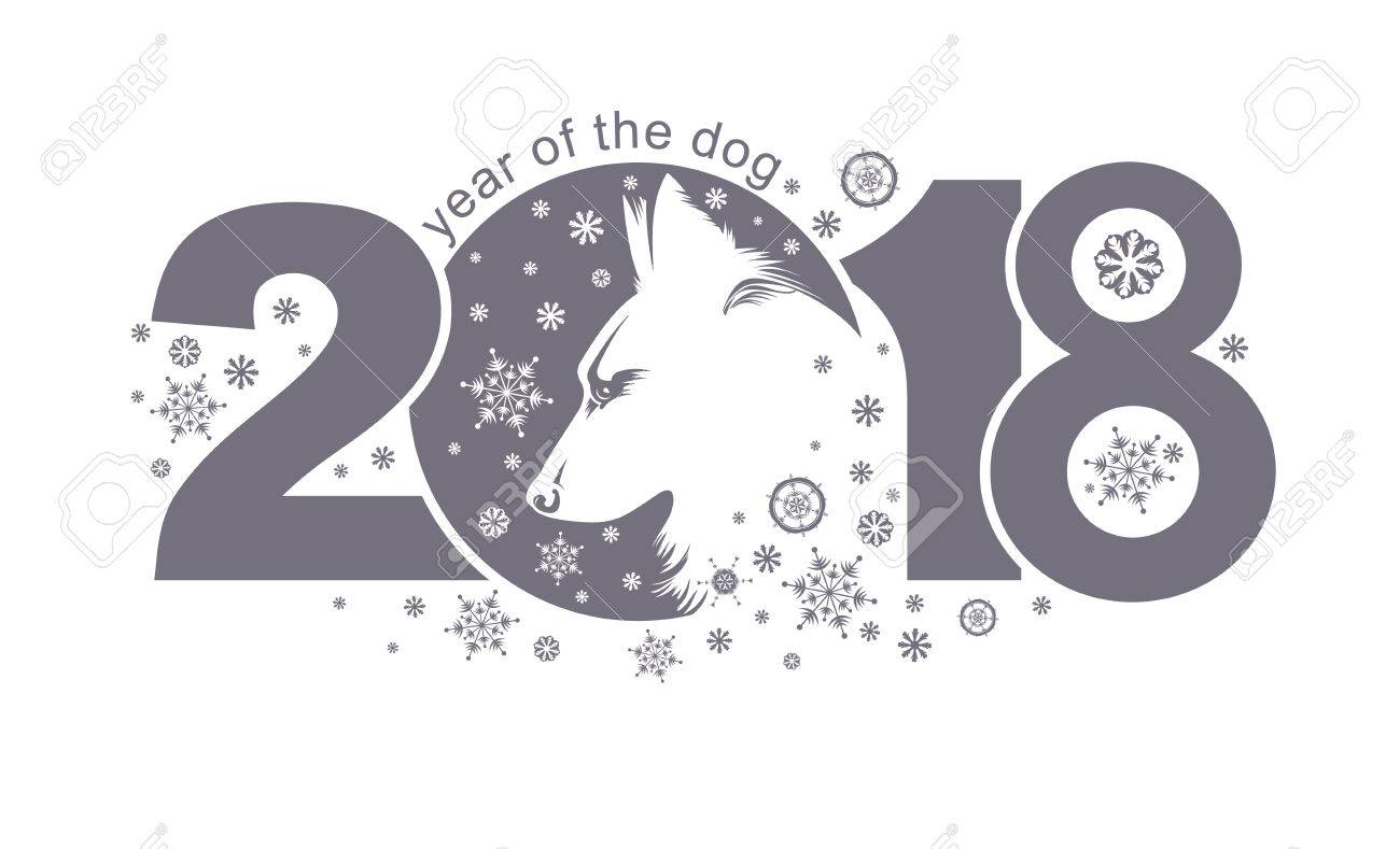 Year Of The Dog 2018 Vector Template New Years Design On The