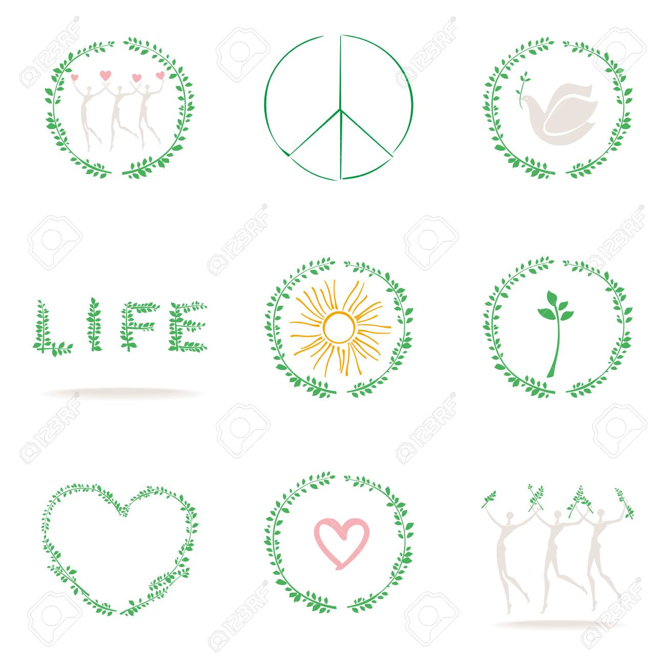 Set Of Conceptual Icons Symbols Of Life Nature Peace Love