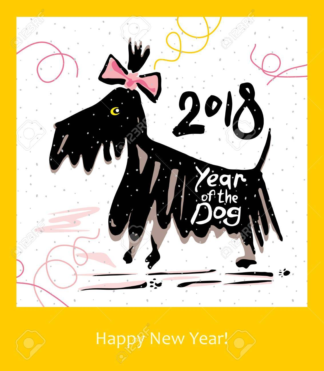 Hand Drawn Funny Terrier. Postcard For The Year Of The Dog 2018 ...