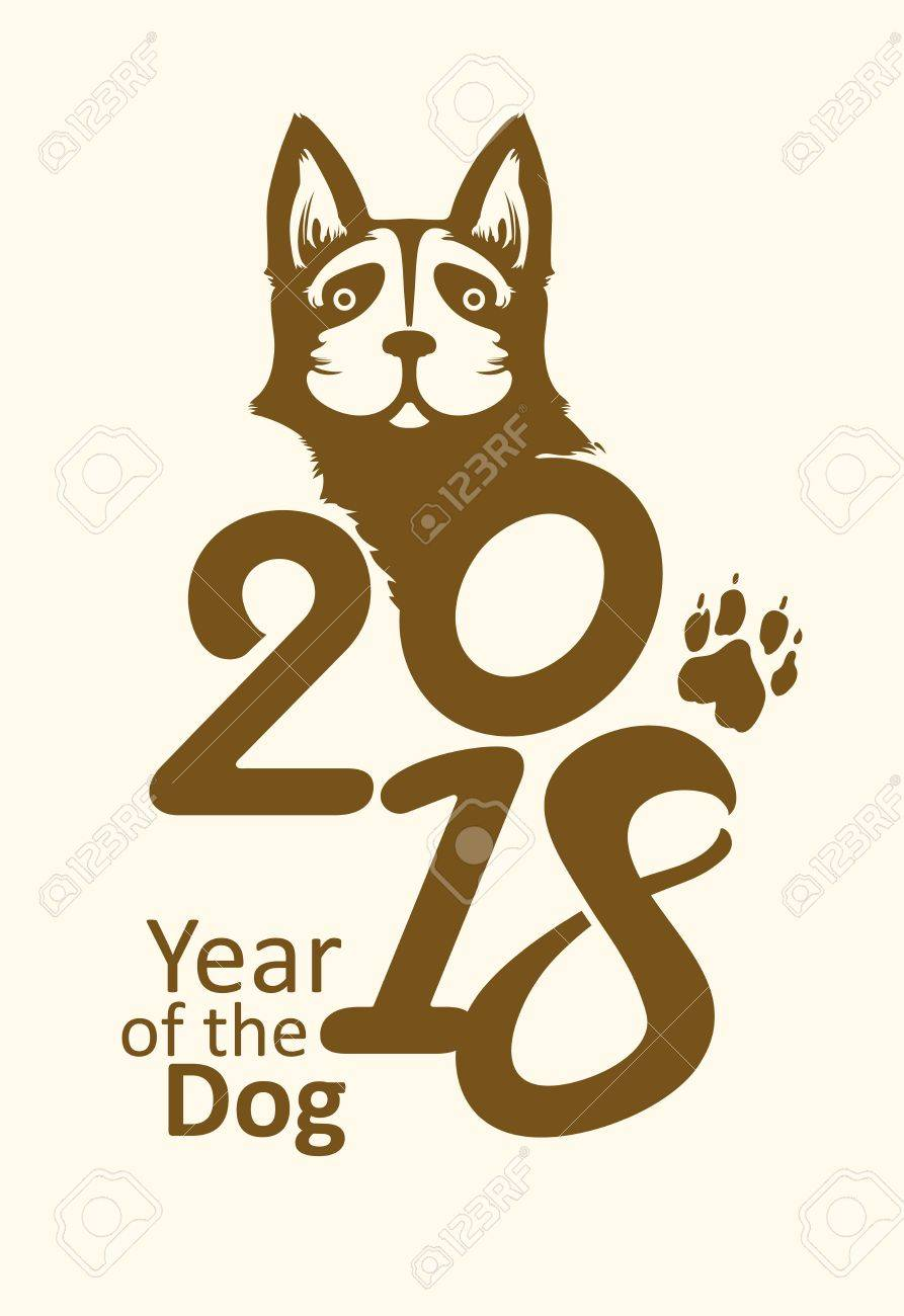 Poster 2018 Year Of The Dog Symbol On The Chinese Calendar