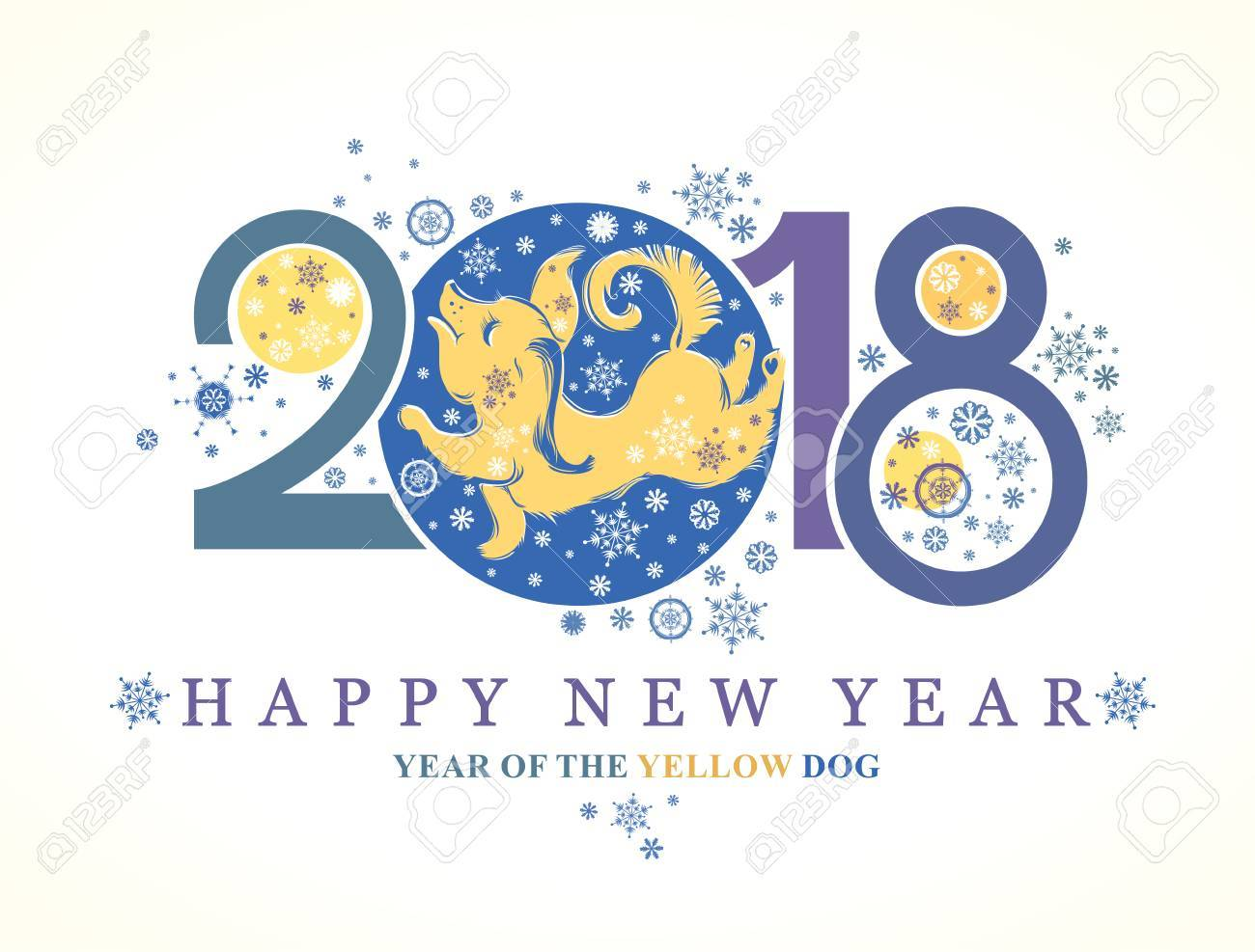Dog 2018 Symbol On The Chinese Calendar Beautiful New Year Card