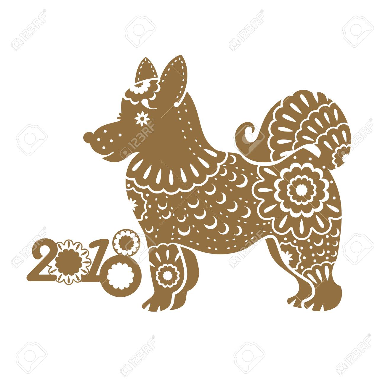 vector year of the dog 2018 year vector template with a stylized dog with ornament chinese new year
