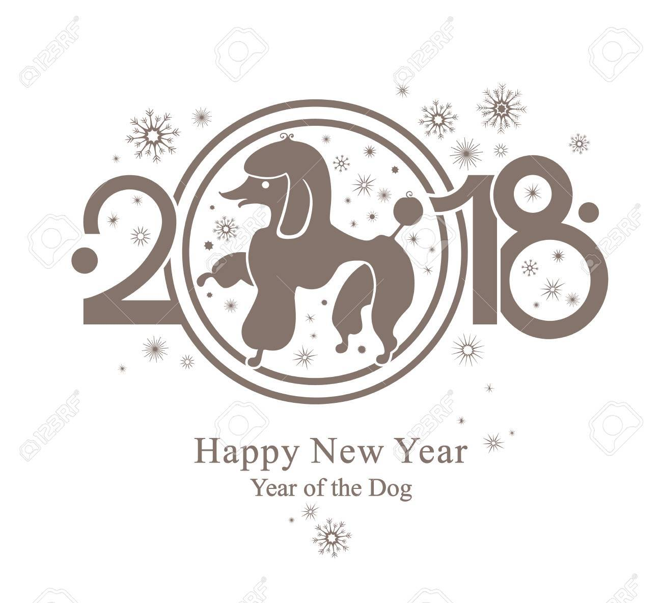 2018 dog new year template stock vector 89244542