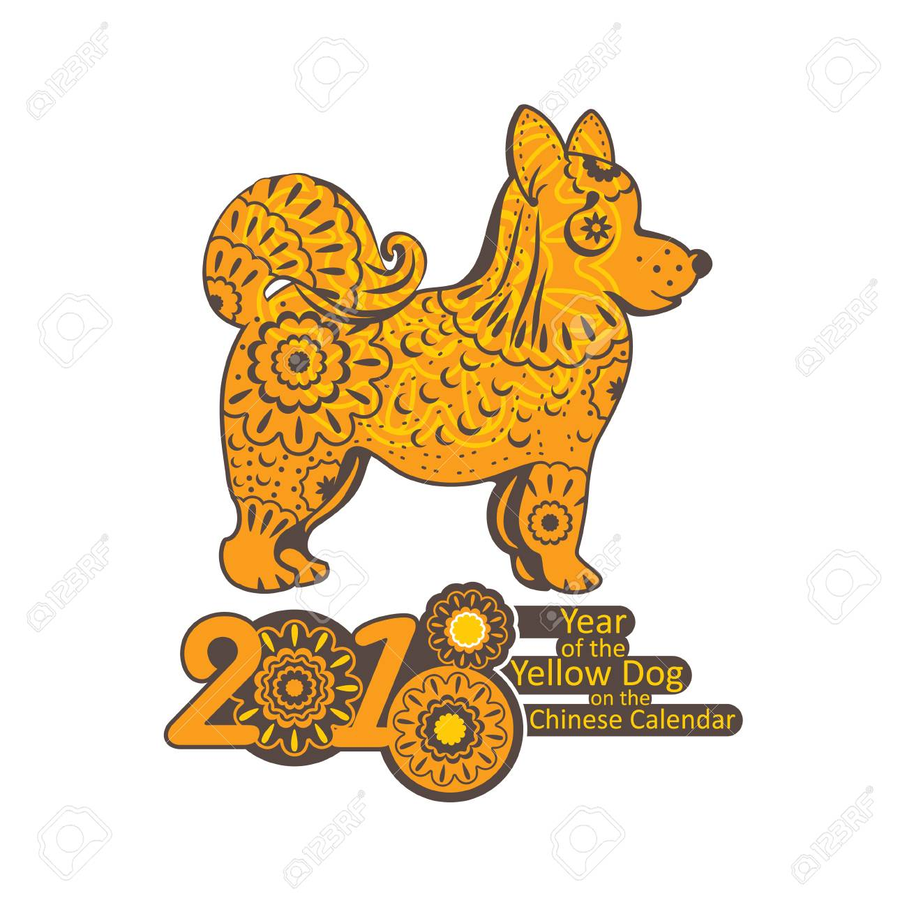 Decorated Yellow Dog 2018 Year Chinese New Year Greeting Template
